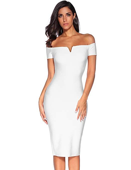 c92123e21 Meilun Women s Strapless Bodycon Dress Knee Length Off Shoulder Bandage  Dress Off-White.