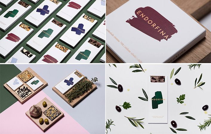 Brand identity: beautiful minimal packaging design for Endorfini, chocolate with olives and herbs (Oliwki) by Lobzowska studio