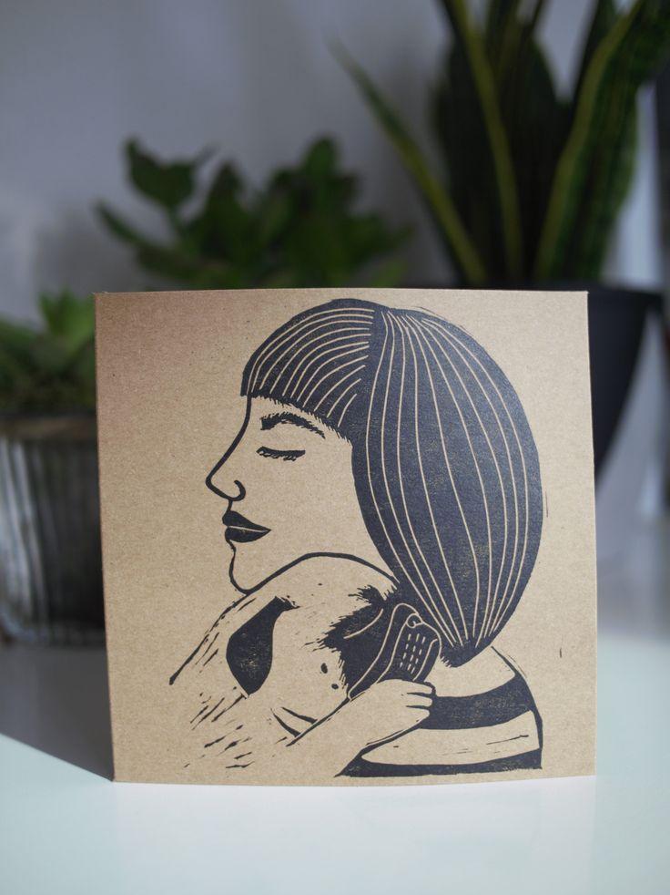 Pug Hug Pug Mama lino print lino cut handmade card Mother's Day card - The Black Pug Press