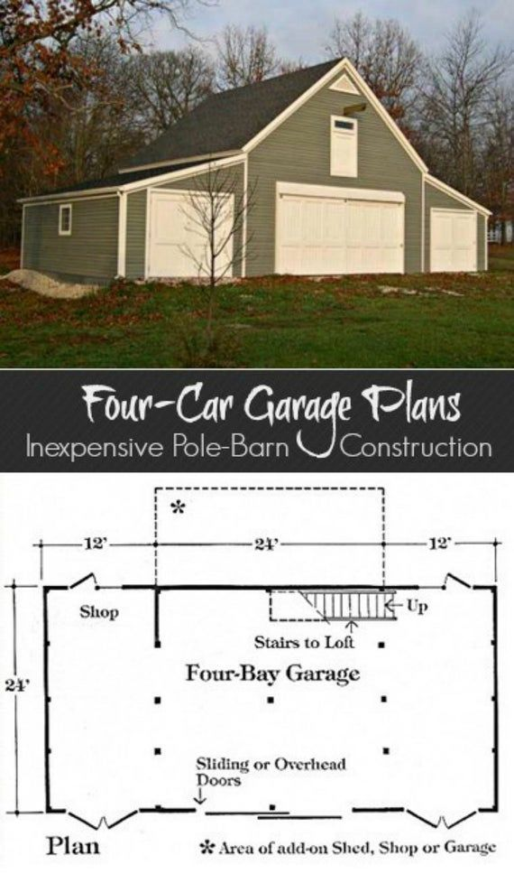 3 Four Car Garage Plans With Lofts Three Different Sets Of Etsy Garage Plans With Loft Barn Construction Pole Barn Construction