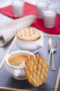 Crema de langostinos   webos fritos