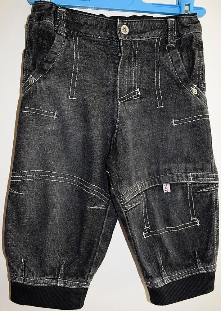 03a8f3dfb H&M Baby Boys Black Faded Denim Cargo Jeans Elasticated Waist Age 9-12  Months