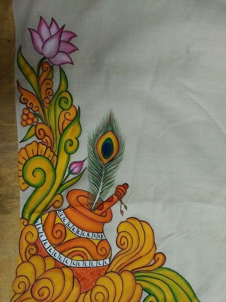 Pin by Punz on Krishna | Mural painting, Saree painting ...