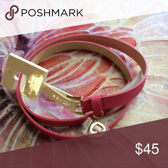 Kate Spate Pink Saffiano Charm Belt Adorable pink leather belt with gold buckle and hanging Logo charm retail $68 kate spade Accessories Belts