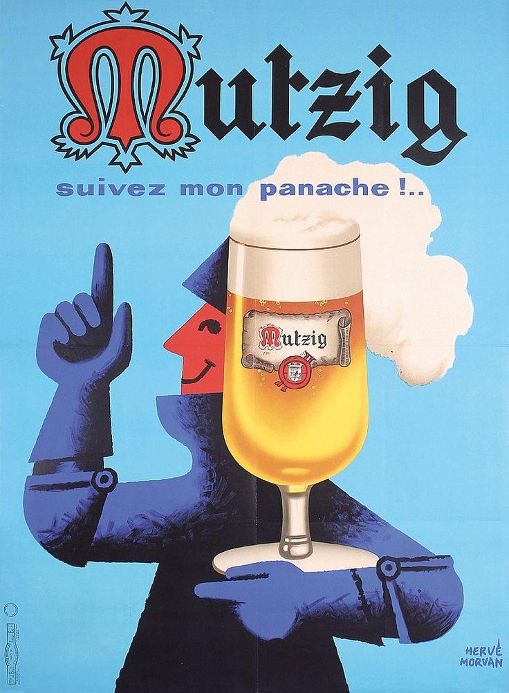 Funny Original 1960s HERVE MORVAN French Beer Poster  Estimated Price: $200 - $360  Description: Morvan , Hervé 1917 - 1980. Mutzig. Offset 1964 . Size: 61.8 x 45.2 in. (157 x 115 cm) . Printer: Vasselais, Paris .