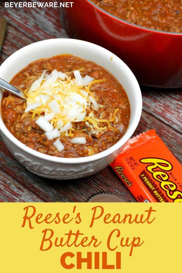 Reese S Peanut Butter Cup Chili Combines Bacon And Ground Beef And Pork With Smoked Chili Seasonings Beans And Smoked Chili Reeses Peanut Butter Cups Recipes