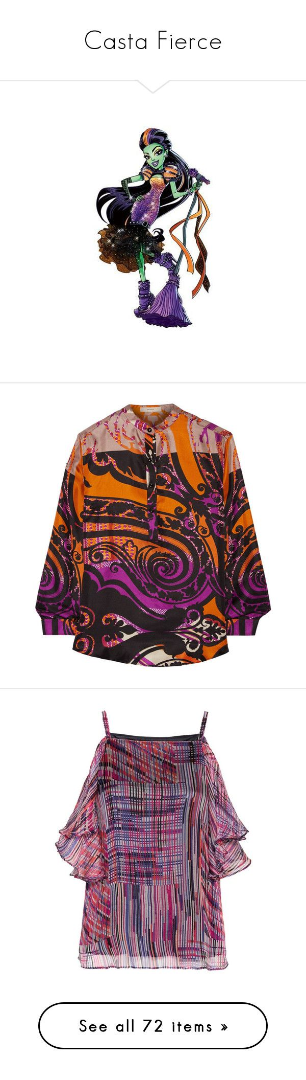 """Casta Fierce"" by darklinghatter ❤ liked on Polyvore featuring tops, blouses, orange, colorful tops, multi color blouse, silk blouse, orange silk blouse, orange silk top, purple and chiffon cami"