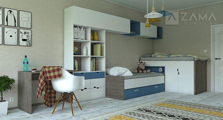 Chlapčenská detská izba na mieru s poschodovou posteľou, úložnými priestormi, knižnicou a pracovným stolom. Farebná kombinácia bielej a modrej s dreveným akcentom.