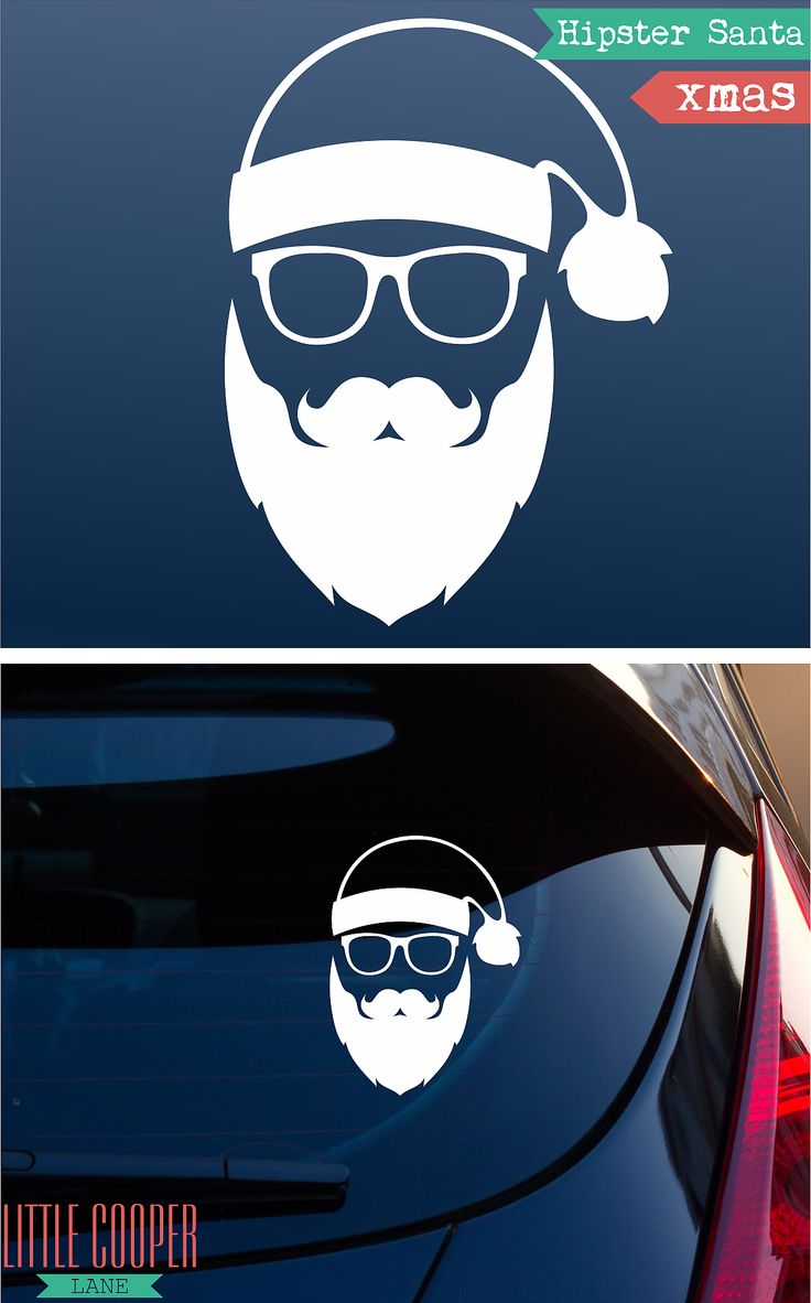 Car sticker design name - Xmas _ Hipster Santa Funny Christmas Vinyl Car Or Laptop Decal Stickers _white_ Small Medium Large _ Car Window Decal _ Id