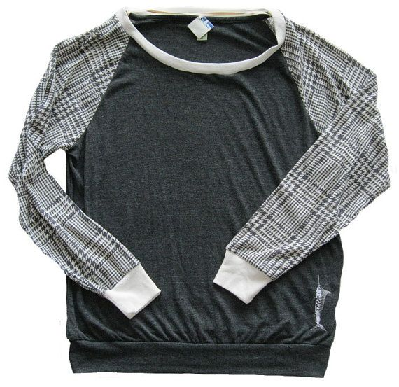 Marlin Houndstooth Slouchy top black and white by billfishart, $39.95