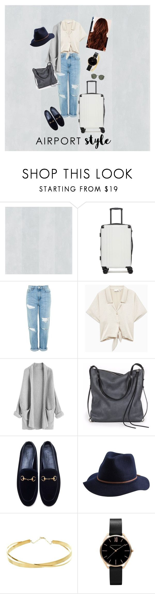 """""""Jetsetter Trends"""" by georgiagk ❤ liked on Polyvore featuring CalPak, Topshop, Ina Kent, Gucci, Brixton, Lana Jewelry, Ray-Ban, contestentry, airportstyle and polyPresents"""