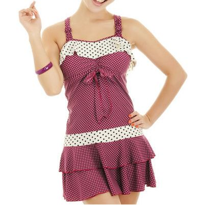 Polka dot retro swim dress, a great choice for more modest pinup gals