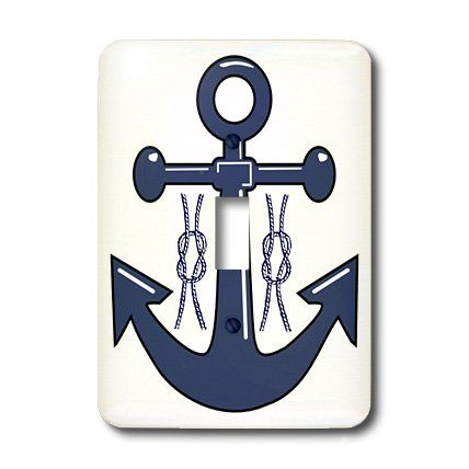3dRose LLC lsp_47900_1 Navy Blue Anchor n Nautical Knots Single Toggle Switch >>> Want to know more, click on the image.