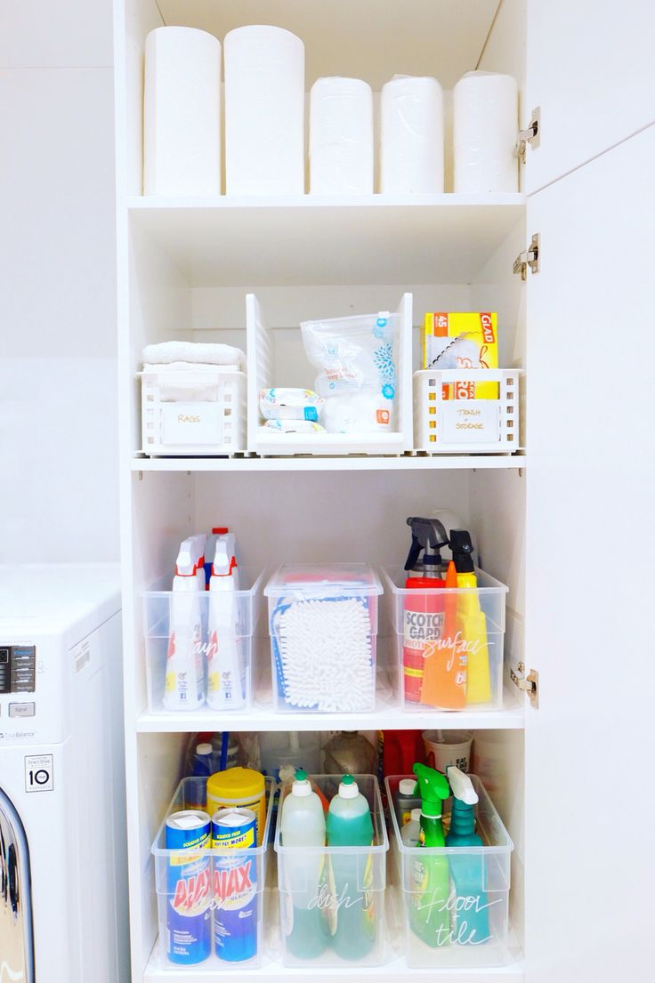 Cleaning closet, simplified and organized. #thehomeedit