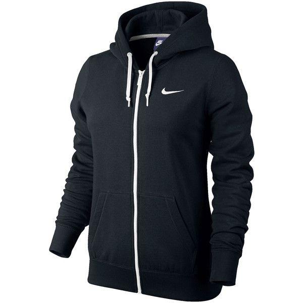 Nike Club Fleece Full-Zip Hoodie Black ($55) ❤ liked on Polyvore featuring activewear, activewear tops, jackets, outerwear, shirts, nike, sweaters, black shirt, nike sportswear and fleece shirt