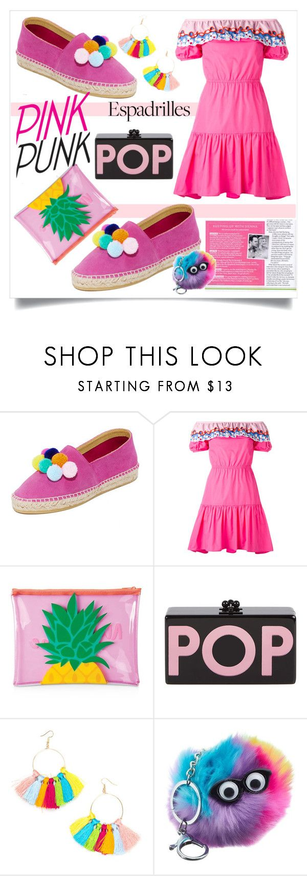 """POP PINK ESPADRILLES"" by taliafzl ❤ liked on Polyvore featuring South Parade, Peter Pilotto, Sunnylife and Edie Parker"