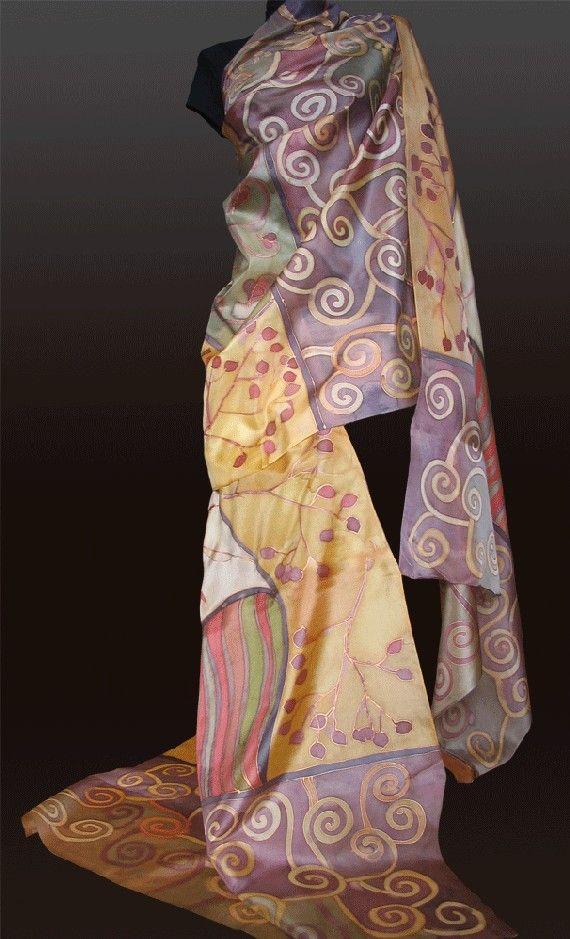 Hand painted silk fabric.