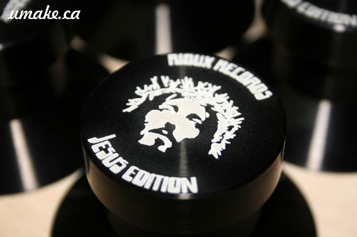 Engraving on anodized aluminium discs stabilizers for Rioux Records www.umake.ca