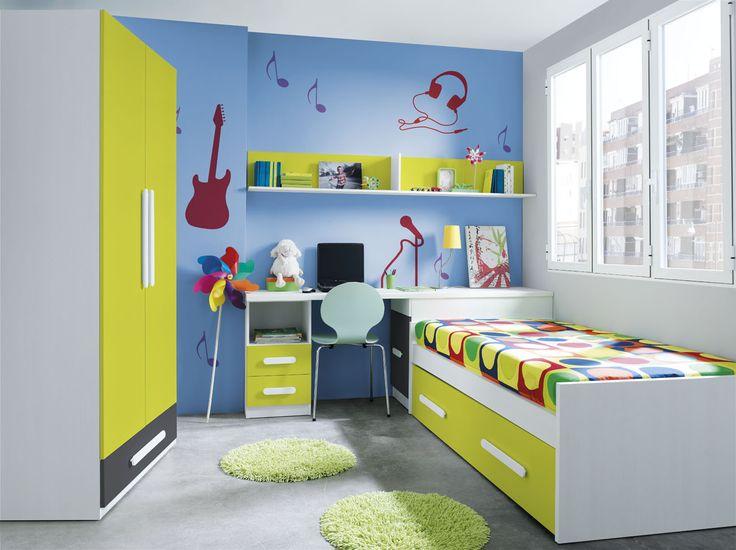 ¡OFERTA! Habitación juvenil compuesta por armario de 2 puertas de 100cm., cama nido, zona de escritorio con arcón y estanteria de colgar, por 526€.