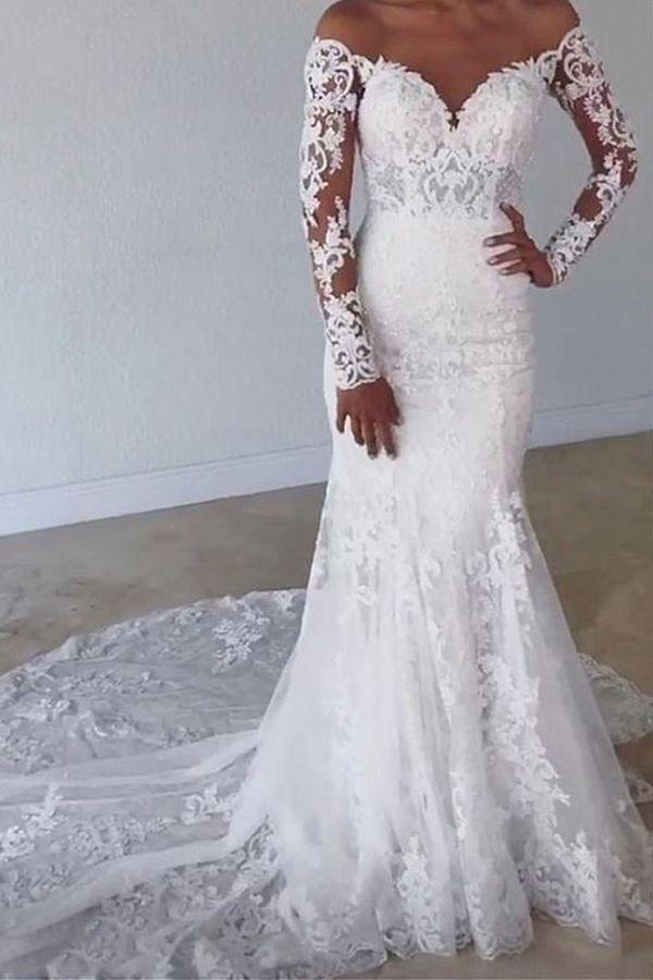 Magbridal Fabuleux Tulle Bijoux Decollete Sirene Robes De Mariée Avec Des Appli…