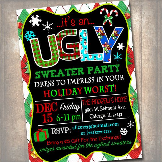 Printable Ugly Sweater Party Invitation, Christmas Party Invitation, Holiday Worst Invite Adult Christmas Party, Holiday Ugly Sweater Invite