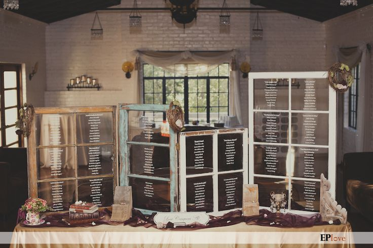 Vintage Eclectic California Wedding ~ Seating chart written on old windows. *