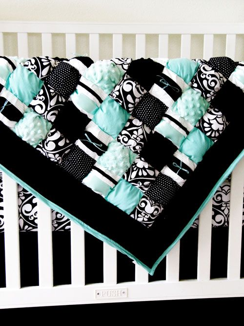 Puff quilt with minky - great idea for a super soft blanket! LOVE THESE COLORS! ---- I WANT THIS!!!