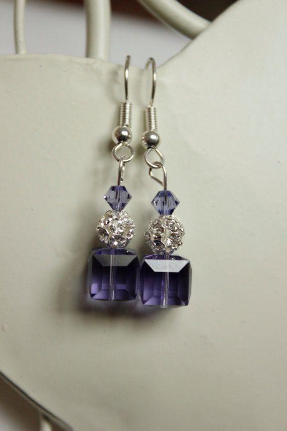 Purple drop crystal earings Swarovski elements by sorocodesigns, €16.00