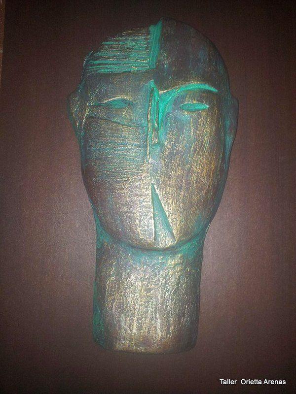 Escultura rostro abstracto. Orietta Arenas.