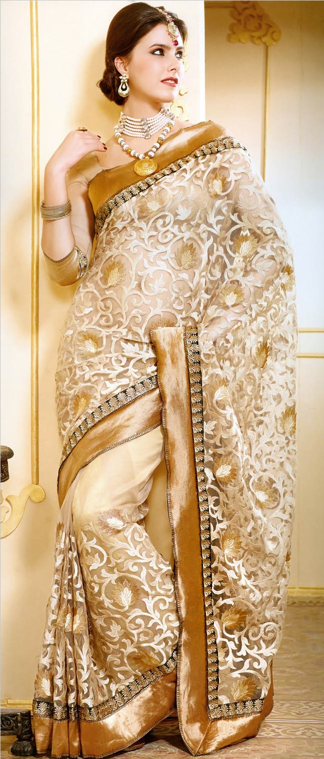 Fawn Net #Saree with Blouse @ $114.79