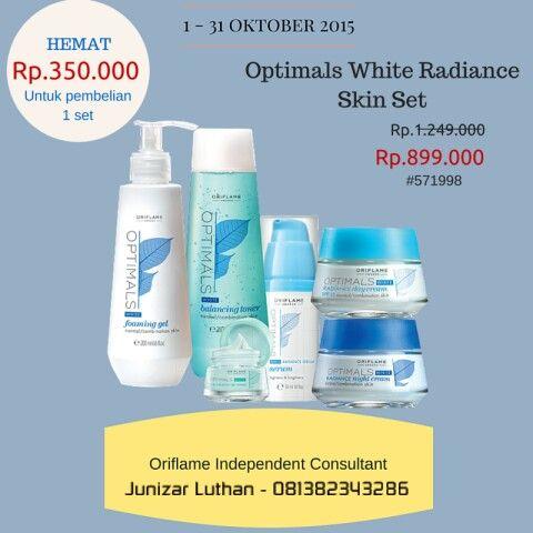 Optimals White Radiance Skin Set -> rangkaian produk perawatan kulit untuk membantu mencerahkan, melembabkan, dan menyeimbangkan T-zone