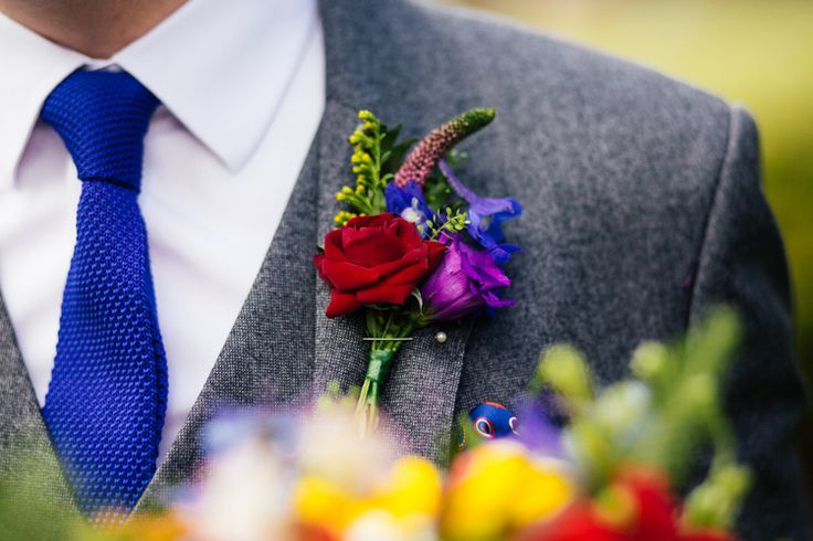 Buttonhole Groom Colourful Red Rose Knitted Tie Blue Multicoloured Fun Creative Wedding http://www.catlaneweddings.com/