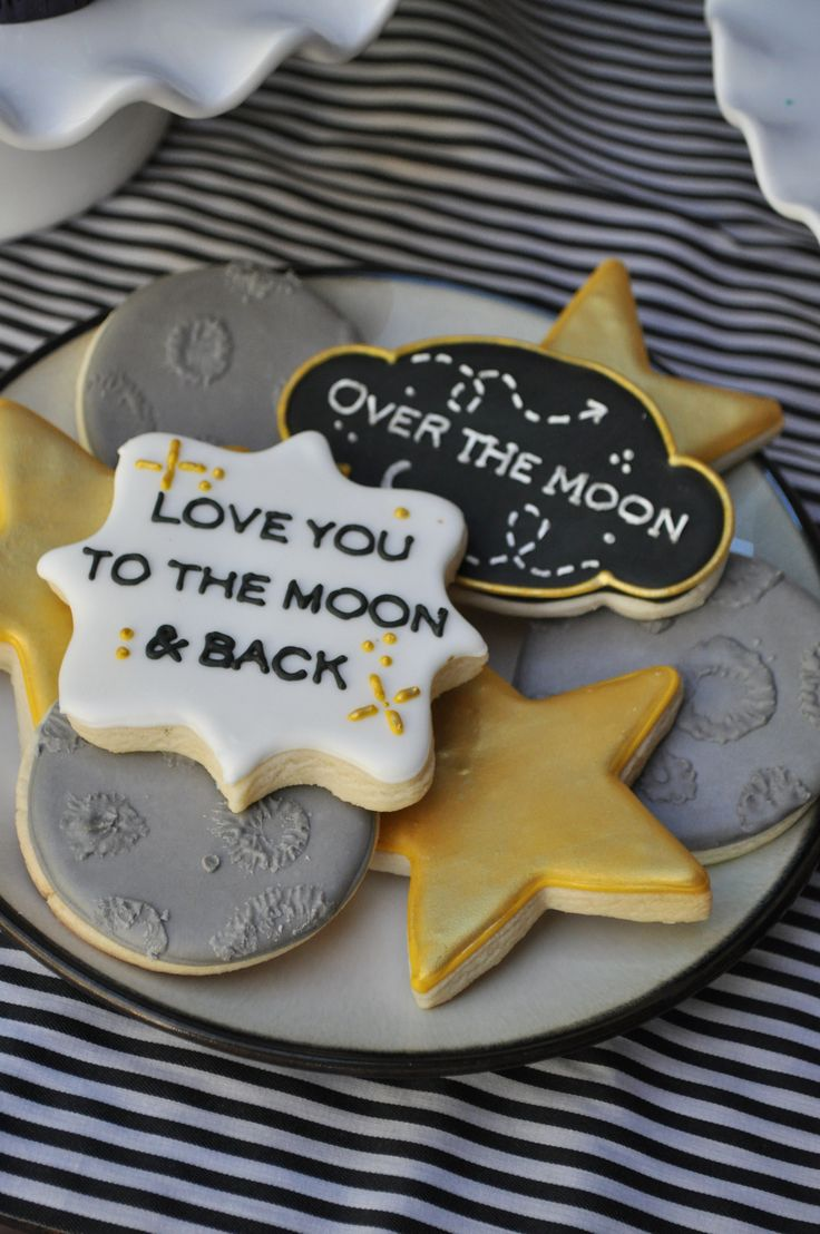 Love you to the moon and back cookies, baby shower great for gender neutral! THE BAKE BOUTIQUE