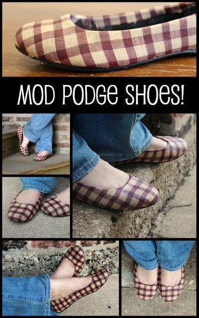 Customize your shoes with Mod Podge and fabric! WOW this is an incredible money saver.  #earthday #cousincorp