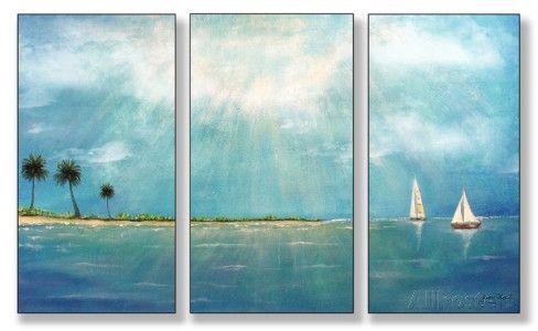 Azure Breeze Triptych Art Wood Sign at AllPosters.com