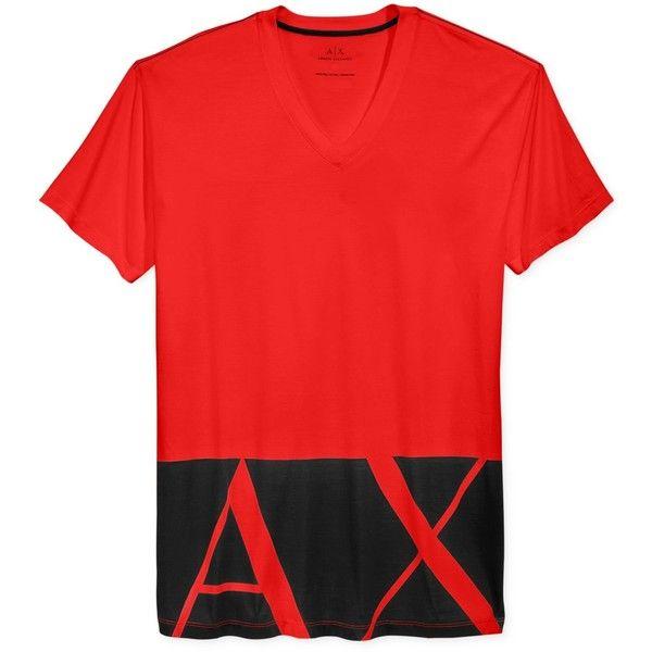 Armani Exchange Men's Logo Hem Graphic-Print T-Shirt ($45) ❤ liked on Polyvore featuring men's fashion, men's clothing, men's shirts, men's t-shirts, absolute red, mens red shirt, mens graphic t shirts, mens red t shirt and mens t shirts