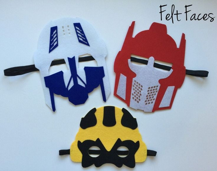 One set of 3 Transformers party masks, one of each style shown in the photo. Each mask is made with premium felt, and has a black elastic band sewn to each side of the back. These adorable party masks
