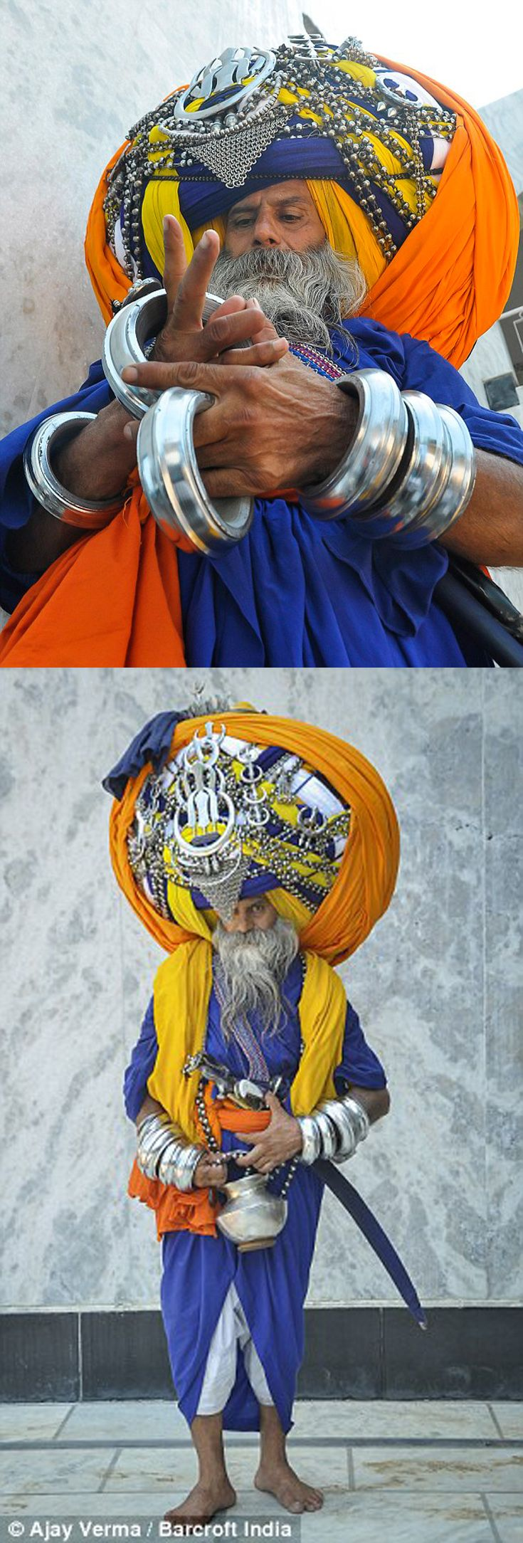 India | Devout Sikh, Avtar Singh Mauni. Punjab | ©Ajay Jain . Bancroft India ||| Source; http://www.dailymail.co.uk/news/article-2736691/The-Turbanator-Devout-Sikh-wears-world-s-largest-turban-takes-six-hours-weighs-100lb.html