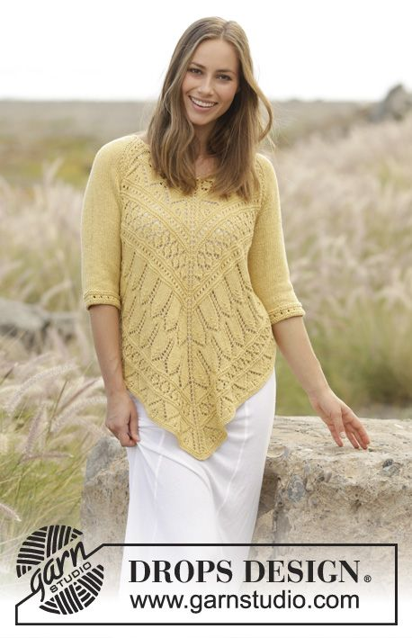 Golden Summer jumper with lace pattern and raglan, worked top down by DROPS Design Free Knitting Pattern