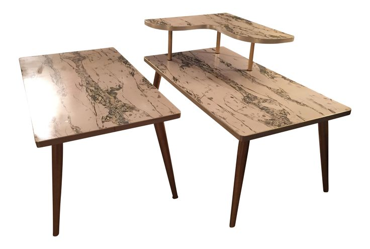Mid-Century Formica Marble End Tables - A Pair on Chairish.com