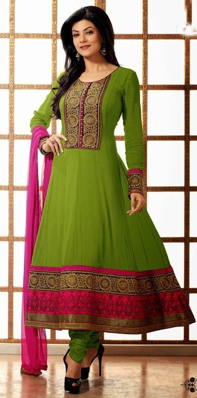 USD 98.81 Sushmita Sen Green Bollywood Embroidered Georgette Anarkali Suit28113