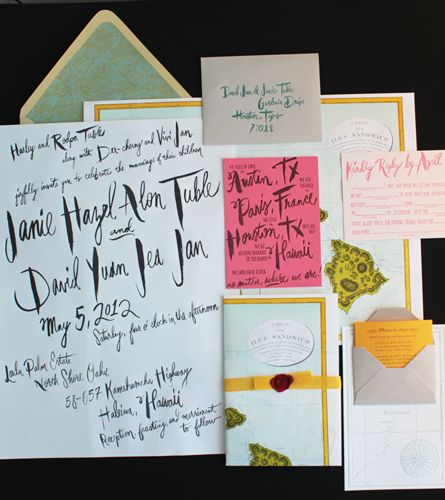 Oversize Map Destination Wedding Invitations - Almost all of the typography is hand drawn, written, or painted by Arley-Rose. AWESOME.