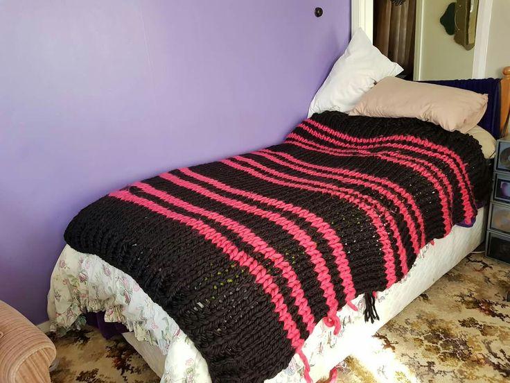 King single striped hand knitted blanket on monster knitting needles