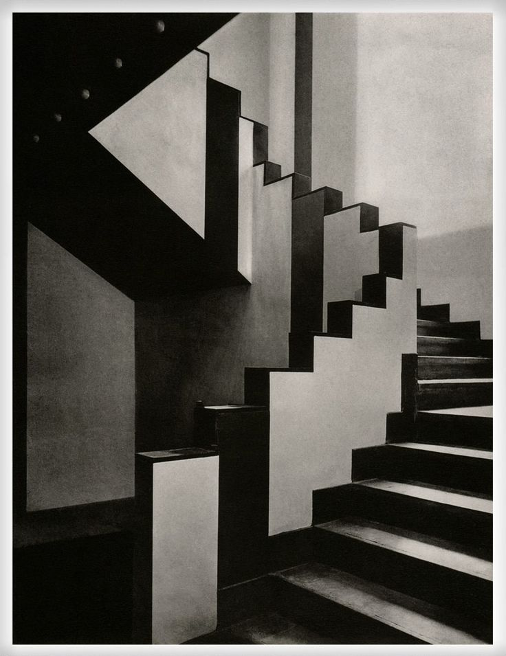 Staircase inside the Aubette café in Strasbourg, designed by Theo van Doesburg, Hans Arp, and Sophie Täuber-Arp (1926-1928)