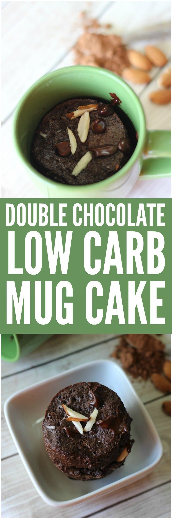 Satisfy your cravings for sweets without the carbs! This Double Chocolate Almond Low Carb Mug Cake is the perfect dessert for those watching their carb intake.