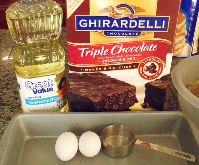 Follow this way to make Ghirardelli brownies instead of the back of the box. Sooooo much better. Going to Costco to buy some today!!
