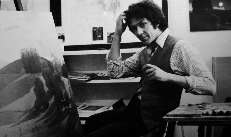 David Inshaw working on The Cricket Game (1976).