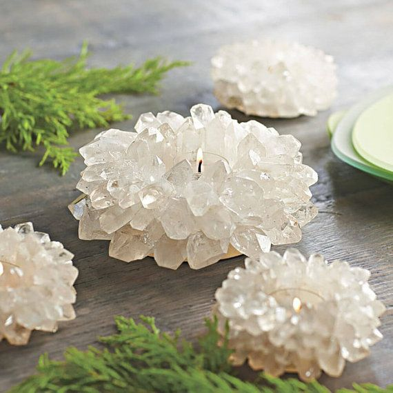 Quartz cluster Lotus Tealight candle holder by CarobniKutak