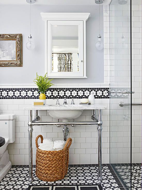 Add interest to your bath by blending and array of tile shapes and textures.