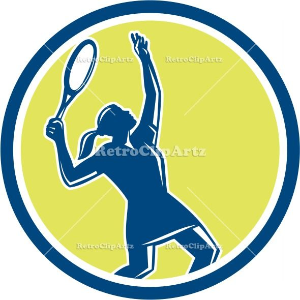 Tennis Player Female Racquet Circle Retro Vector Stock Illustration